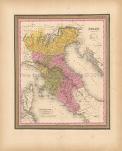 Italy Antique Map Mitchell 1847
