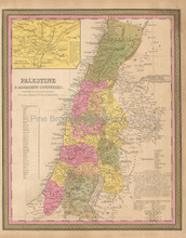Palestine Holy Lands Antique Map Mitchell 1847
