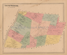 South Windsor Town Connecticut Antique Map Baker Tilden 1869