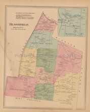 Bloomfield Connecticut Antique Map Baker Tilden 1869