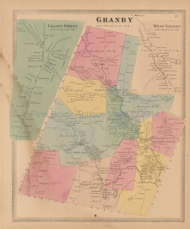 Granby Connecticut Antique Map Baker Tilden 1869