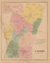 Canton Connecticut Antique Map Baker Tilden 1869