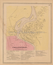 Collinsville Connecticut Antique Map Baker Tilden 1869