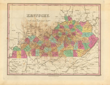State of Kentucky Antique Map Finley 1833