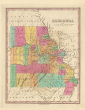 State of Missouri Antique Map Finley 1833
