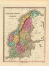 Scandinavia Antique Map Finley 1833