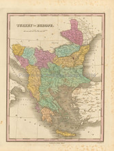 Turkey in Europe Balkans Antique Map Finley 1833