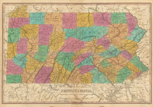 State of Pennsylvania Antique Map Finley 1833