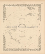 South Pole Antique Map Colton 1856