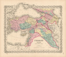 Turkey in Asia Iraq Antique Map Colton 1856