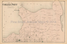 College Point East New York Antique Map Beers 1873