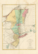 New York New Jersey Revolutionary War Antique Map Lotter 1777
