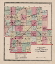 Fayette Effingham Clay County Illinois Antique Map Beers 1872
