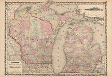 Michigan Wisconsin Antique Map Johnson 1862