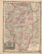 Illinois Antique Map Johnson 1863