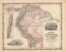 Bolivia Peru Antique Map Johnson 1863