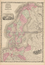 Scandinavia Prussia Antique Map Johnson 1863