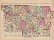 Franklin County Massachusetts Antique Map Walling 1871 - 2