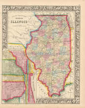 State Of Illinois Antique Map Mitchell 1864