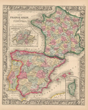 Iberia France Antique Map Mitchell 1864