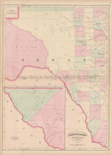 West Texas Antique Map Asher & Adams 1873
