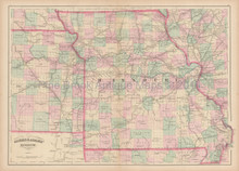 Missouri Antique Map Asher & Adams 1873