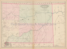 Montana Territory East Antique Map Asher & Adams 1873
