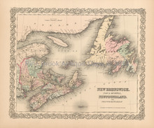 Canadian Maritime Provinces Antique Map Colton 1855