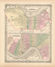 New Orleans Louisville Antique Map Colton 1855