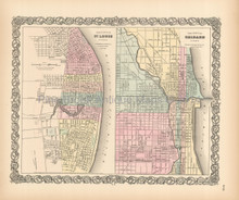 St. Louis Chicago Antique Map Colton 1855