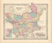 Turkey In Europe Antique Map Colton 1856