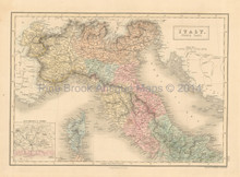 Italy North Antique Map Black 1851