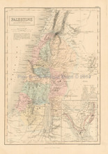 Palestine Antique Map Black 1851