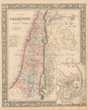 Palestine Israel Antique Map Mitchell 1864