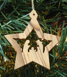 "Star with Nativity Olive Wood from Bethlehem 2"" *"