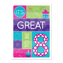"Girl ""Great to be 8″ Baptism Card *"
