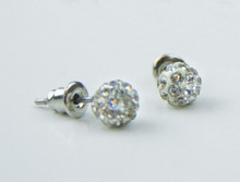 White Sparkle Baptism Earrings *