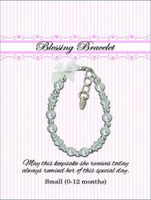 Sterling Silver Pearl/Crystal Blessing Bracelet  *
