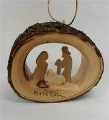 """Round bark ornament with holy family - 3"""" *"""