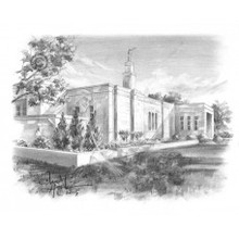 Montreal Quebec Temple Sketch 3x4