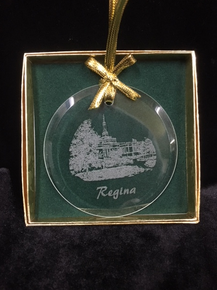 Glass Temple Ornament Etched Regina