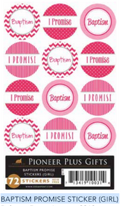 "Baptism Promise  Sticker Girl (Pack of 72 x 1"") *"