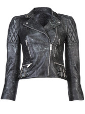 Christopher Kane Distressed Leather Motorcycle Jacket
