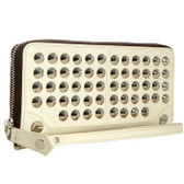 Be & D Large Garbo Studded Wallet (Cream)