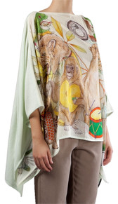 Swash Pet Sounds Silk Mint Cashmere Cape Scarf