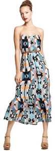 Twelfth St by Cynthia Vincent Aztec Strapless Ruffle Midi Dress