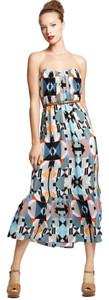 Twelfth St by Cynthia Vincent Aztec Strapless Ruffle Midi Dress
