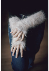 Ambika English Angora Fur Long Fingerless Gloves