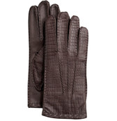 Hilts-Willard Men's Croc-Embossed Lambskin Gloves (Brown)