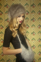 English Angora Fur Drawstring Hat